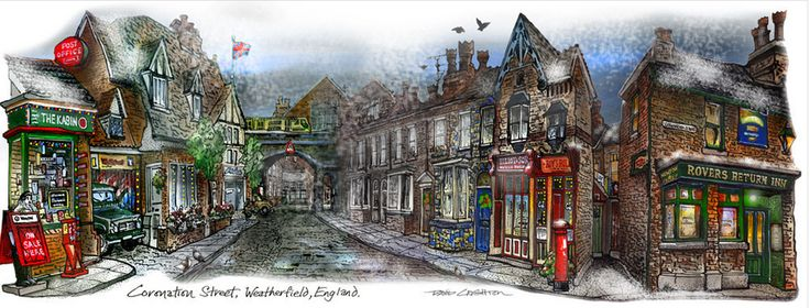 Crightonism: I have had a 35 year plus love affair with Coronation Street. Here's my Wintery Christmas version of the Street! I can't wait for the Oct 31 – Nov 1 British Isle Show in #Toronto. I'll be at booth 742. Come stop by to see all my Corrie artwork. http://www.davidcrighton.com/products/coronation-street-christmas-by-illustrator-artist-david-crighton-art?variant=975758157