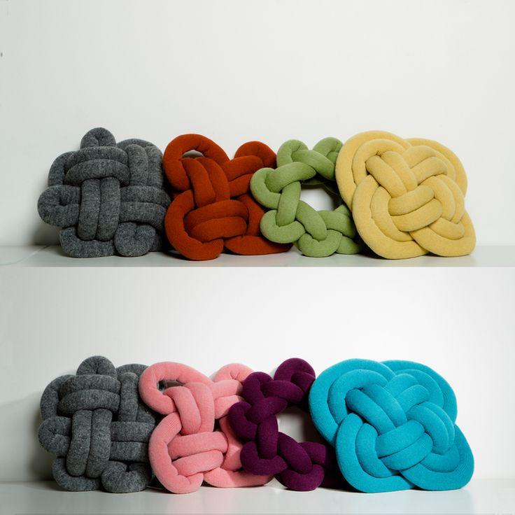 Ragnheiður Ösp Sigurðardóttir, makes designing cushions more fun. The knot cushions are made by hand-stuffing machine knitted Iceland wool, knotting them i
