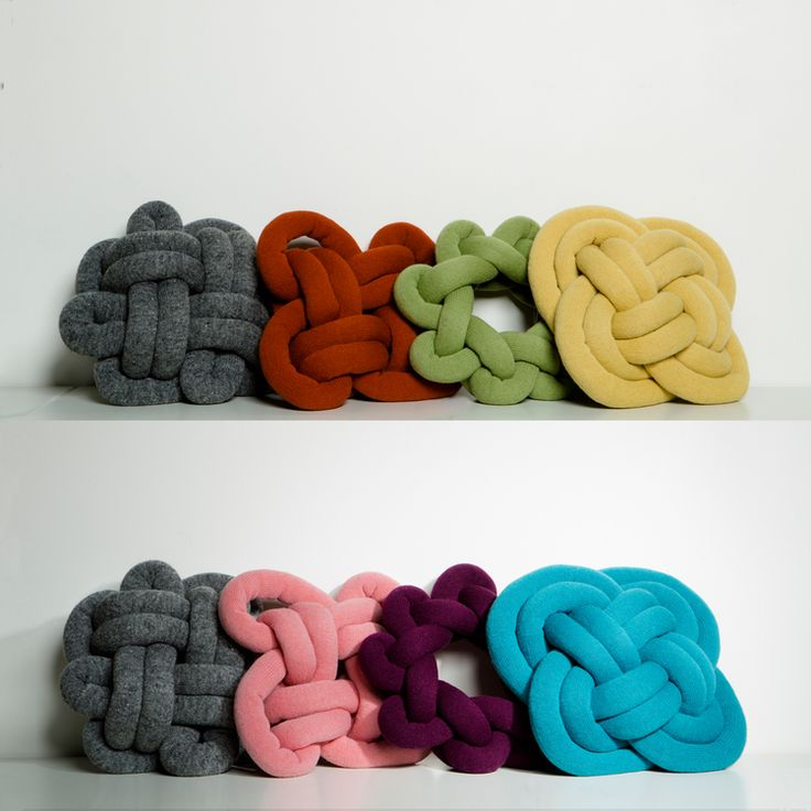 Ragnheiður Ösp Sigurðardóttir, makes designing cushions more fun. The knot cushions are made by hand-stuffing machine knitted Iceland wool, knotting them i