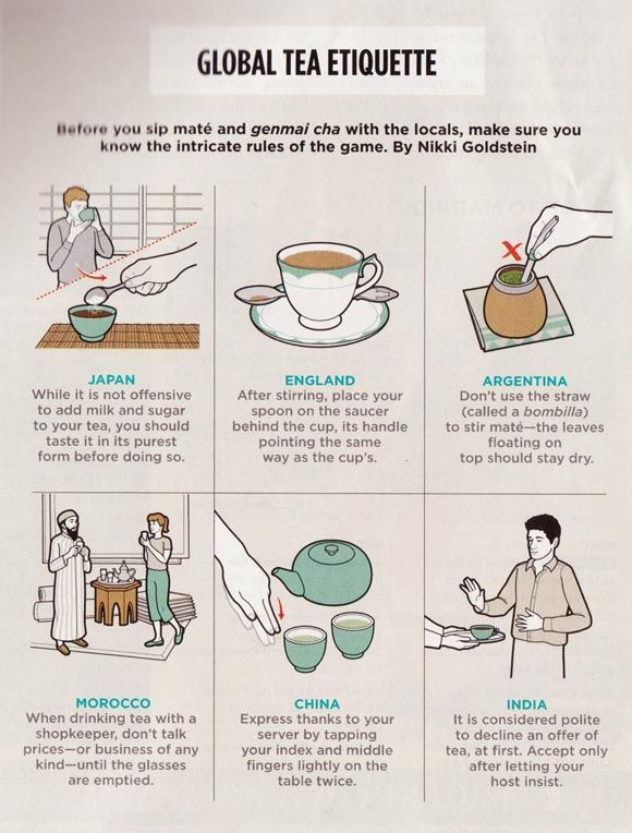 Don't think there's any tea etiquette in the U.S. as it's predominantly a coffee drinking nation.  Unless it's to ceremonially dump some tea in the Boston harbor before imbibing, in memory of what our freedoms cost.  ;-)