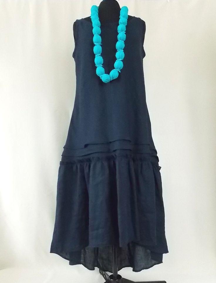 Deep blue dress . Women Maxi Dress Pluse Size. Linen 100%. Boho dress Asymmetrical Kaftan by BohoEklektika on Etsy
