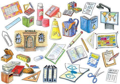 Cliparts des Niedersächsischen Bildungsservers (NiBiS) zu Schule und Schulsachen