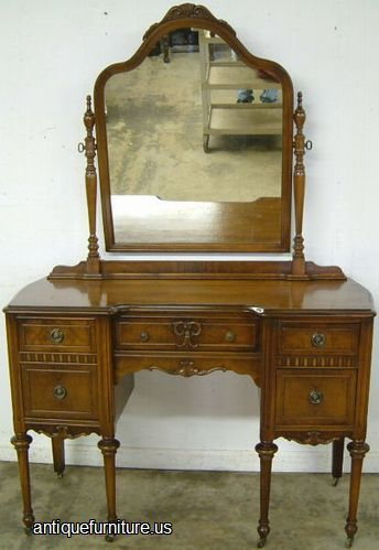 antique burl walnut vanity with mirror at antique 87963