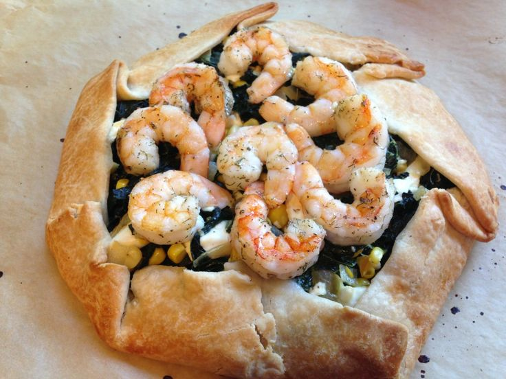 Well Dined | Kale and Corn Galette with Feta and Shrimp