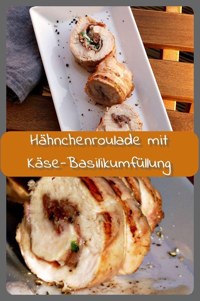 Gegrillte Hähnchenroulade mit Käse-Basilikumfüllung Gegrillte Hähnchenrouladen gefüllt mit Prosciuto, Parmesan und Basilikum. Die Rouladen lassen sich gut vorbereiten und sind eine geeignete Abwechslu...