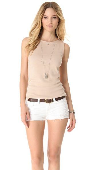 Three Dots Sleeveless Boat Neck Top. Love nude paired w white.
