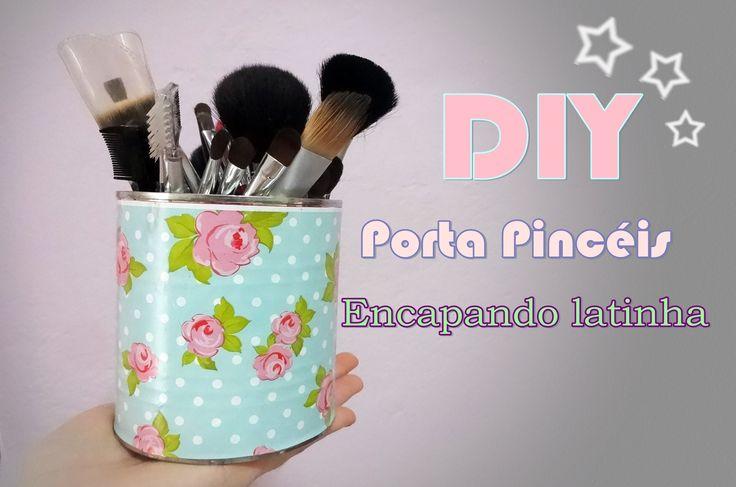 DIY -  Porta Pincéis ~ Encapando latinha com papel contact