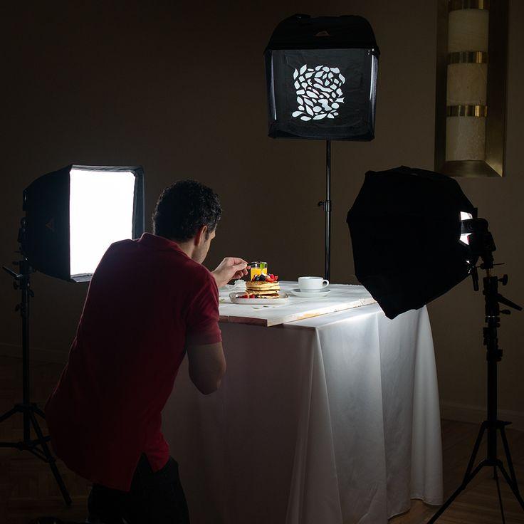 Food styling and lighting setup. Food photography.