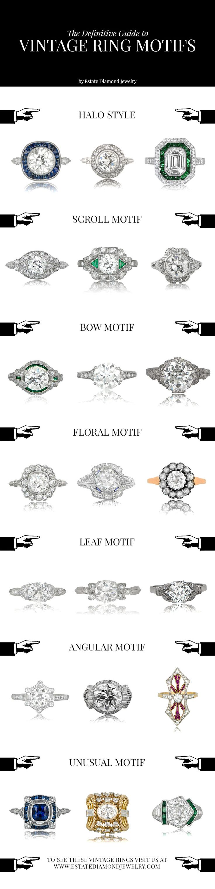 Vintage Engagement Rings Motifs. Take a look at all the styles of the rare and beautiful vintage engagement rings.