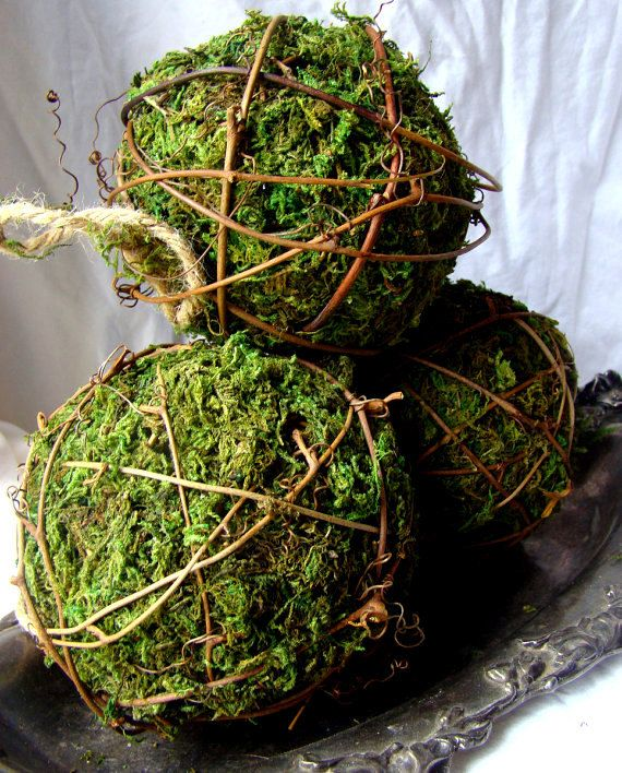 Moss Balls Moss and Grapevine Balls 4'' Moss by CraftersEuphoria, $7.50