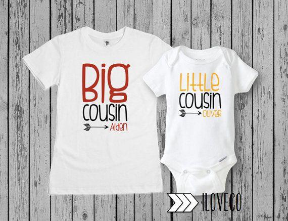 084e18d32 Little Cousin Bodysuit   Big Cousin t-shirt set   customizable name ...