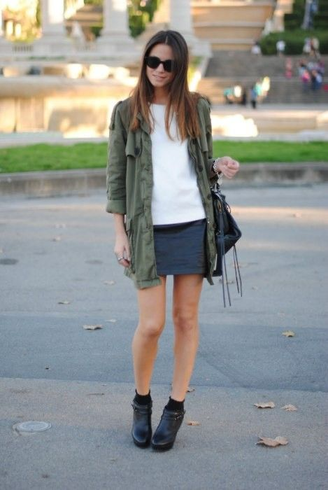 I love just about anything paired with a leather mini.  But especially this military jacket.