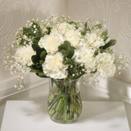 White carnations and baby's breath! perfect cheap but beautiful centerpieces, bouquets?