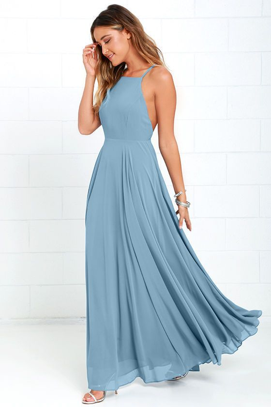 Lulus Exclusive! The Mythical Kind of Love Slate Blue Maxi Dress is simply irresistible in every single way! Lightweight Georgette forms a fitted bodice with princess seams and an apron neckline supported by adjustable spaghetti straps that crisscross atop a sultry open back. A billowing maxi skirt cascades from a fitted waistline into an elegant finale, perfect for any special occasion! Hidden back zipper with clasp.