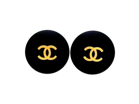 Vintage Chanel earrings CC logo black round by Chanel | Vintage Five.  I'll take a pair!!!