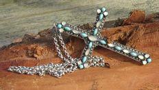 Dames/Heren 925 Zilveren kruis met Turkoois, Maansteen, 75 Markesietjes en Jasseron ketting.