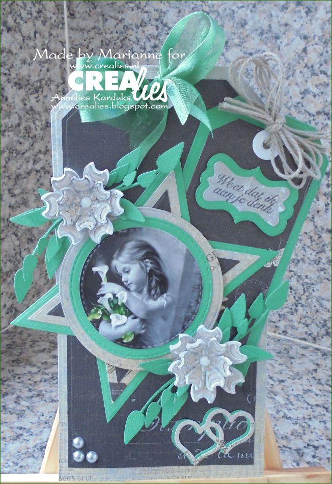Made by Marianne: https://www.crealies.nl/detail/1485157/16-02-07-marianne-jpg.htm &  http://www.crealies.blogspot.nl/2016/02/weet-dat-ik-aan-je-denk.html  Crealies items: Crea-Nest-Lies Extreme Labels and Tags no. 4 Straight with stitch Crea-Nest-Lies XXL no. 20 Crea-Nest-Lies XXL no. 33 Tekst en Zo stempels  Overlijden 2 Set of 3 no. 26 Bloemen 16 Set of 3 no. 32 Labels 6 Creative Shapes no. 11 Duo Dies no. 19 Dubbele ringen en harten Duo Dies no. 26 Bloemen 16