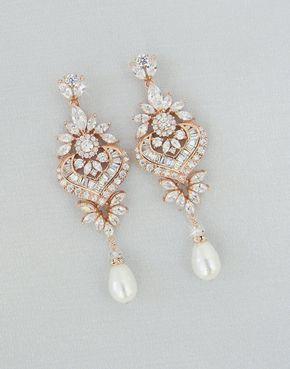 Rose Gold Bridal Earrings, Crystal Wedding Earrings, Statement Bridal Earrings,Bridal Jewelry, Swarovski, London Bridal Earrings