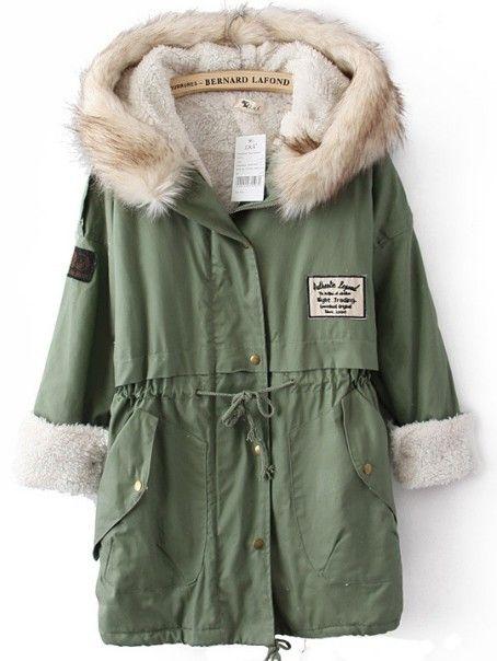 Green Hooded Long Sleeve Drawstring Waist Trench Coat