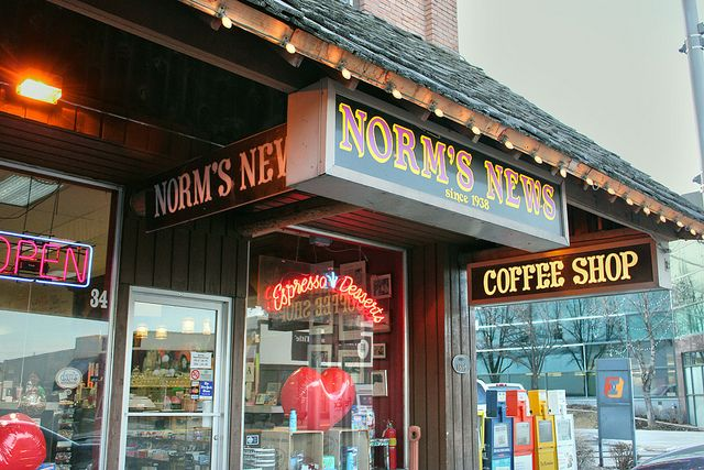 Norm's News - Kalispell, MT, old fashioned soda fountain with made from scratch milk shakes, great sundies and banana splits. Good burgers too and all manner of publications and candy.
