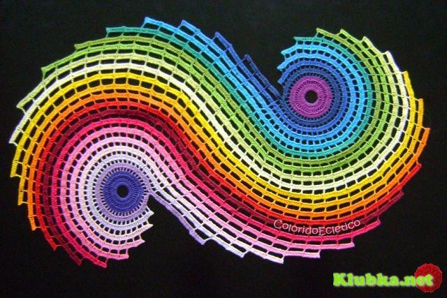 Радужная спиральная салфетка крючком или коврик крючком