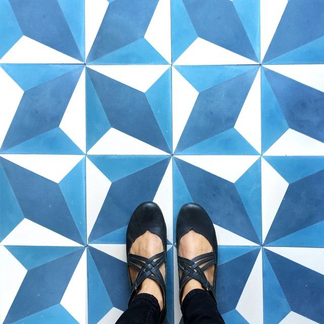 "Our ""diamond twist"" cement tile. Let's do the twist! #moodyblues #TileEnvy #tliephile #tileasart #floorcore"