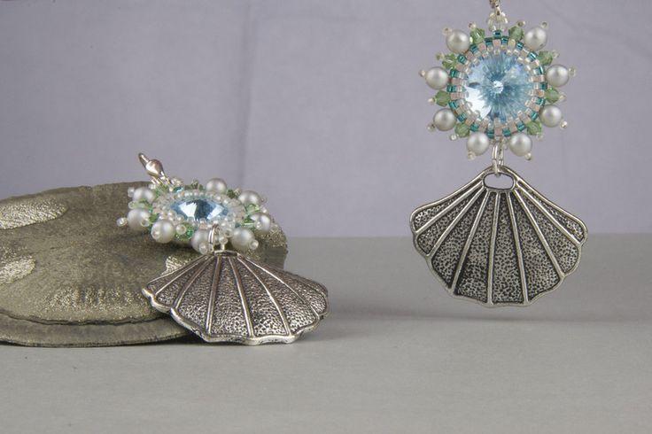 Ohrringe - Ohrringe muschel blau beadwork - ein Designerstück von kreativrausch-kiel bei DaWanda