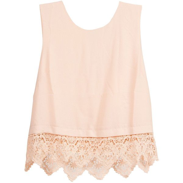 Lush Clothing Crochet Trim Sleeveless Chiffon Top ($32) ❤ liked on Polyvore featuring tops, shirts, tank tops, blusas, peach shirt, chiffon shirt, chiffon top, chiffon tank and sleeveless chiffon shirt