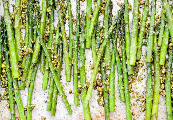 Roasted Asparagus with Pistachio-Mint Pesto