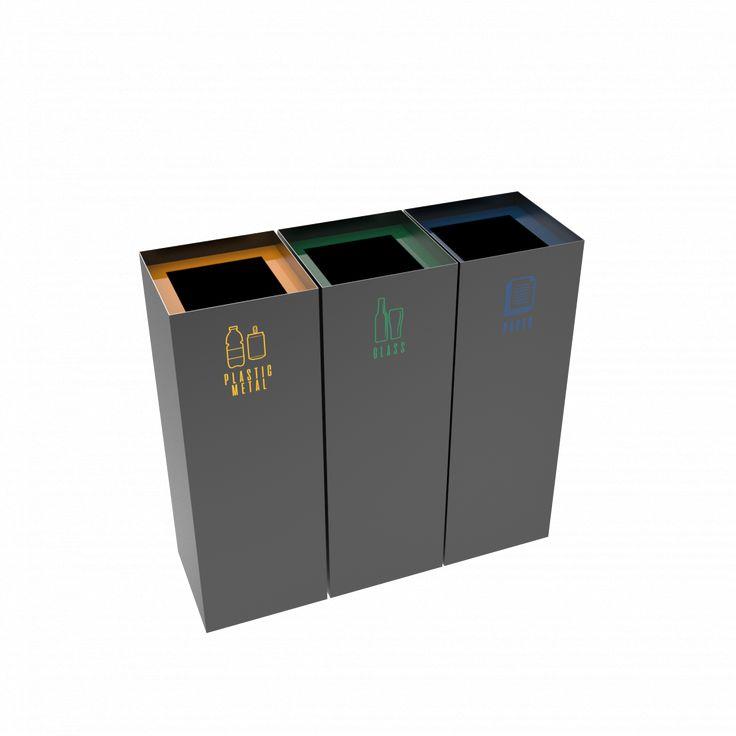 MEDELE PC - Modern office powder coated metal recycling bins