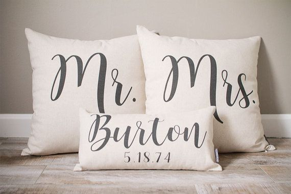 Mr and Mrs Pillow Sets 3 Wedding Pillows by SweetHooligansDesign