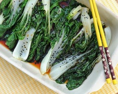 Easy Steamed Bok Choy Salad, steamed in the microwave or in a steamer. #LowCarb #WW1