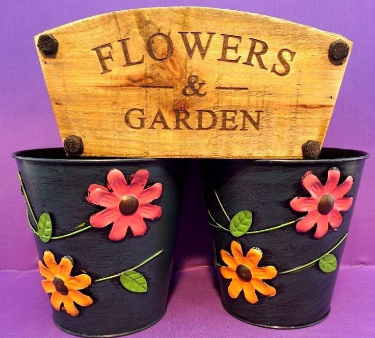 """2 Large Colourful Metal Flower Plant Pots 6"""" Planter 1 wood  shabby chic"""
