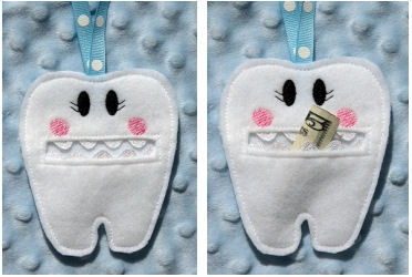 Tooth Fairy Pouch, love those rick rack teeth $5.00