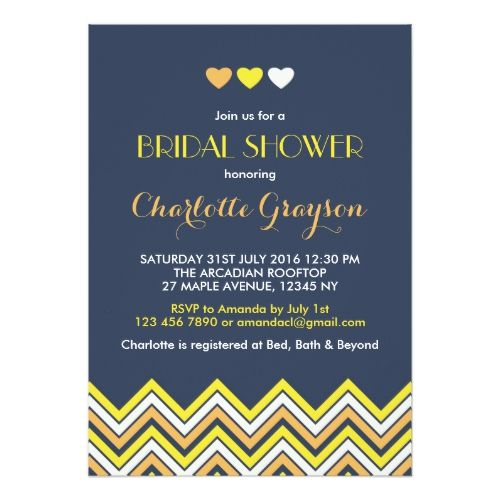Navy Blue Yellow Chevron Bridal Shower Invitation