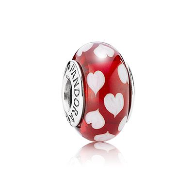 Red sweethearts murano charm for a loving moment #PANDORAcharm #Hearts