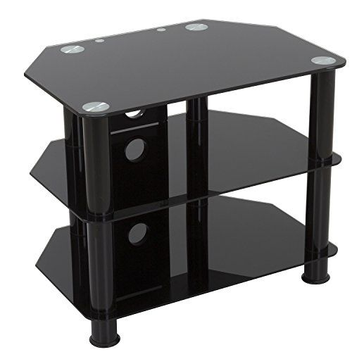 Gloss Black Glass Tv Stand Black Legs 3 Tier Cable Management For Up To 32 Inch Lcd Led Plasma Televisions - 60cm