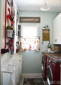 a vintage inspired red aqua laundry room makeover, laundry rooms, organizing, repurposing upcycling, storage ideas, wall decor