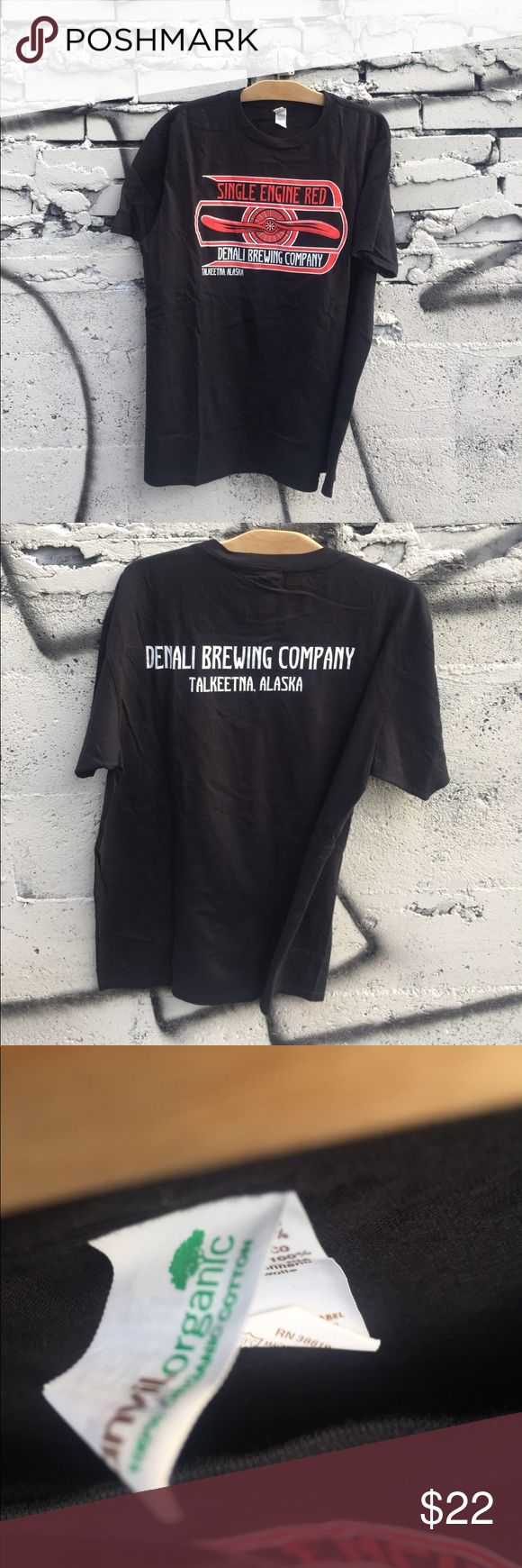 Single Engine Red Brewery Talkeetna Alaska tshirt This Short Sleeve Tee is made from 100% preshrunk organic cotton and features our Single Engine Red logo on the front. The back reads DENALI BREWING COMPANY / TALKEETNA, ALASKA. Available in Black Shirts Tees - Short Sleeve