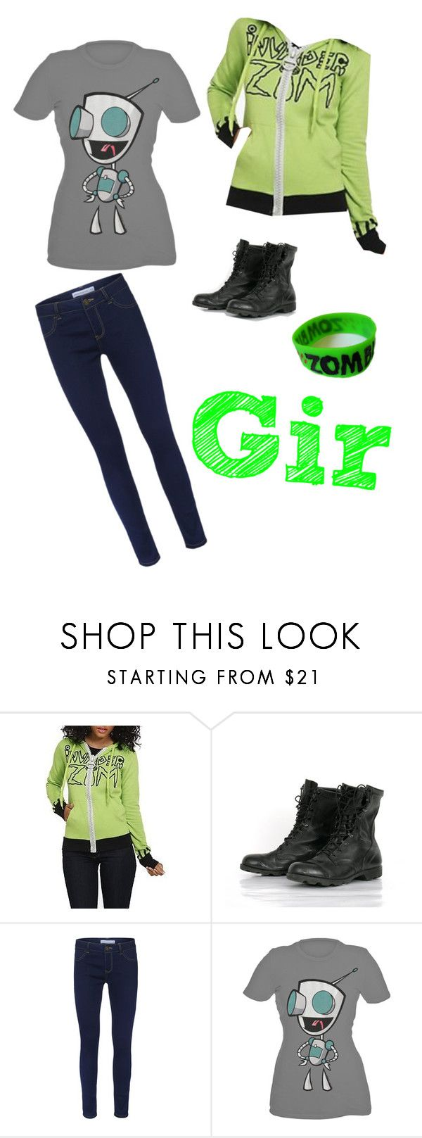 """""""Gir, from Invader Zim"""" by blackrabbitmegapig ❤ liked on Polyvore featuring ONLY, Goodie Two Sleeves, fun, cartoons and casual"""
