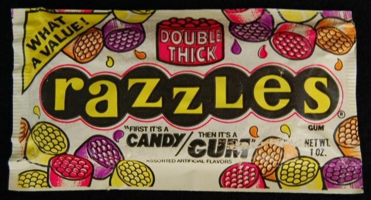 Image detail for -1985 Fleer Razzles Unopened Vintage Package Candy Gum 1980s Nostalgia ...