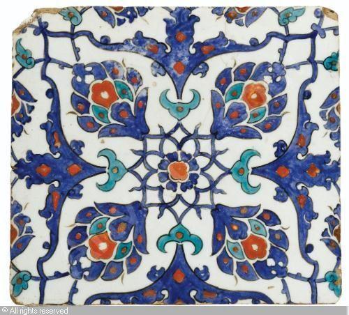 IZNIK CERAMIC, 16 > (Turkey) Title : SQUARE TILE Date : ca 1580 SQUARE TILE sold by Sotheby's, London, on Tuesday, April 24, 2012