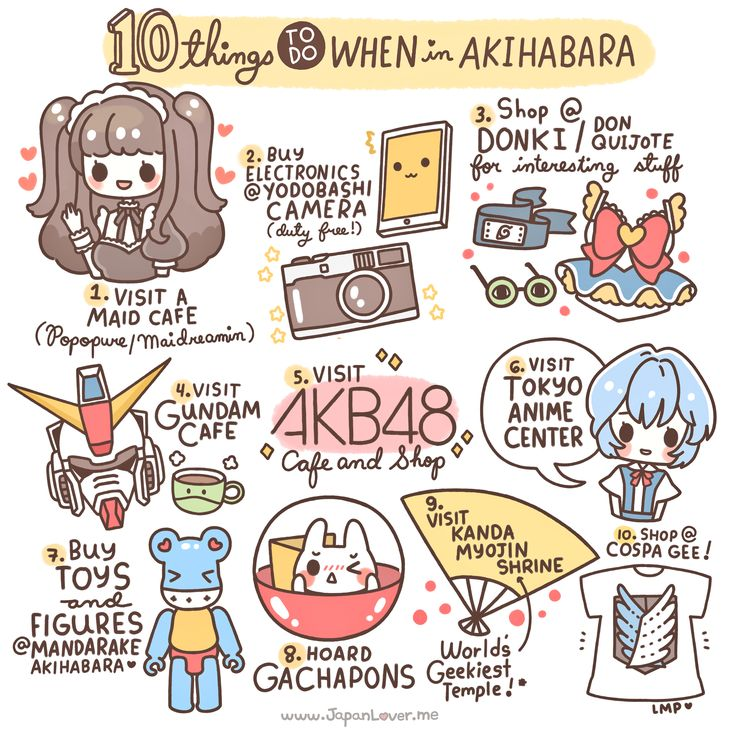 Akihabara is considered by many to be an otaku cultural center and a shopping district for computer goods, video games, anime, and manga. As you requested, we listed our 10 recommended activities when in Akihabara! Sharing the Worldwide JapanLove ♥ www.japanlover.me ♥ www.instagram.com/JapanLoverMe Art by Little Miss Paintbrush