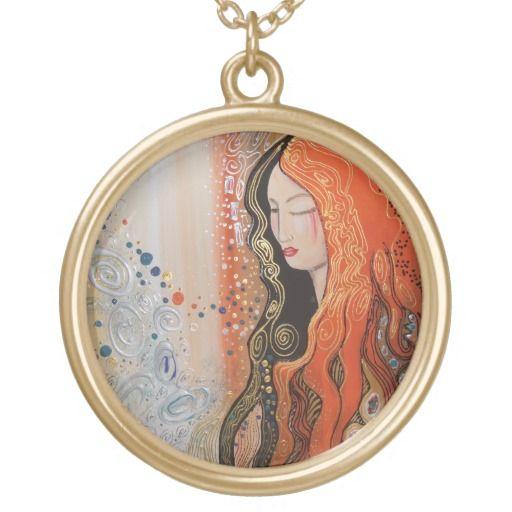 Ginger Lady Elegant Pendant Necklace Art Nouveau
