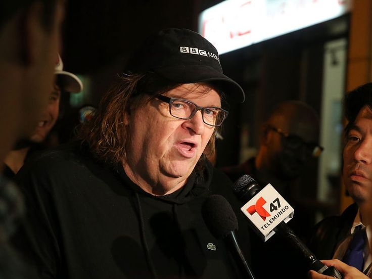 """attends the premiere of documentary """"Michael Moore In TrumpLand"""" at the IFC Center on October 18, 2016 in New York City. Free tickets to the premiere were distributed at the box office on a first-come-first-serve basis, and then the film was expected to play in Los Angeles and New York City over the weekend and be available via iTunes."""