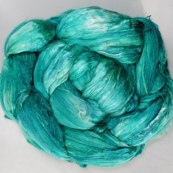 A1+Grade+Mulberry+Silk+Brick+Top+Hand+dyed+for+Spinning%2C+Felting%2C+Paper+making+%26+Fiber+Arts+%26quot%3BEmerald+City%26quot%3B+%3B+4.2-4.4+oz.