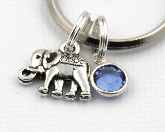 Small Elephant Key Ring, Elephant Keychain With Birthstone Or Pearl, Elephant Keyring, Animal Gift, Best Friends Gift,For Her,Christmas Gift