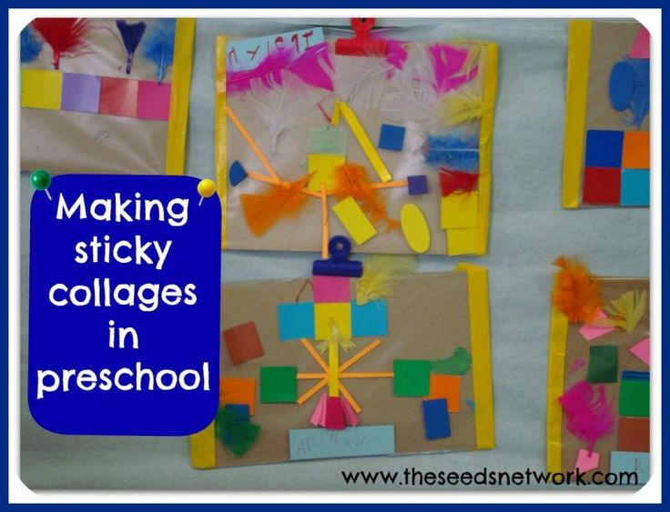 Making sticky collages in preschool