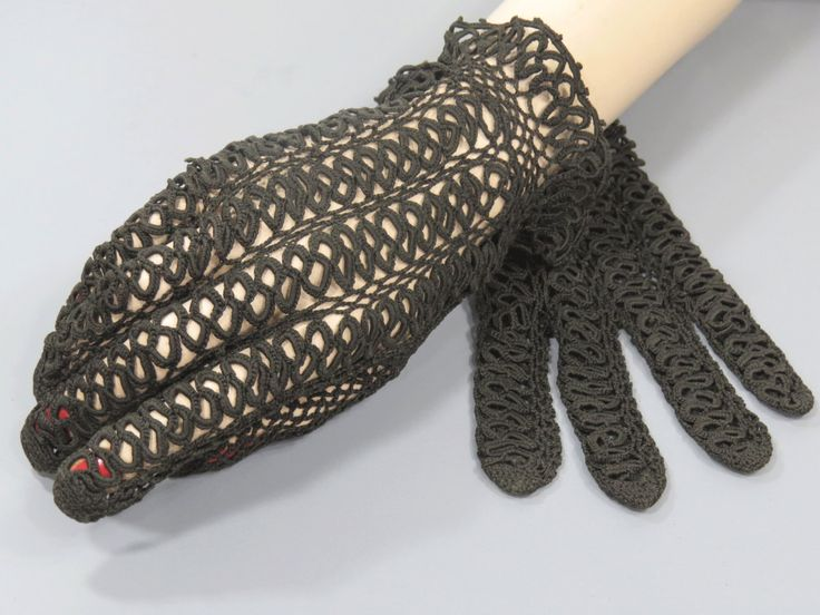 Black Tatted Lace Gloves - Wrist Length - Wedding Party - Night on the Town - High Fashion by UrbanRenewalDesigns on Etsy