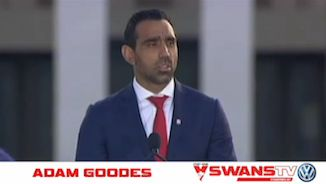 I am proud to be a Swans member. Congratulations to Adam Goodes - Australian of the Year! Proudly Sydney, proudly Australian!